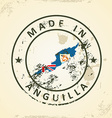 Stamp with map flag of Anguilla vector image