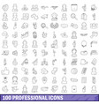 100 professional icons set outline style vector image vector image