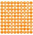 100 space icons set orange vector image vector image