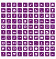 100 sport equipment icons set grunge purple vector image vector image