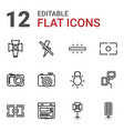 12 photographer icons vector image vector image