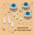 aliens encounter isometric composition vector image vector image
