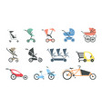 baby strollers flat icon set of various baby vector image