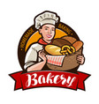 bakery bakeshop logo or label woman baker vector image vector image
