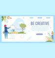 be creative inspiration slogan and woman draws vector image