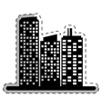 black buildings and city scene line sticker vector image