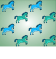 Blue and Green Horses Background Pattern vector image vector image