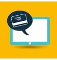 blue tablet cartoon credit card bank design vector image vector image