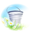 bucket with milk vector image vector image