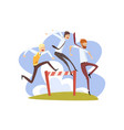 businessmen jumping over hurdles together vector image vector image
