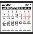 calendar sheet August 2017 vector image vector image