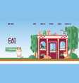 cat cafe for landing page vector image vector image