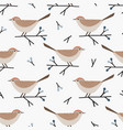 christmas seamless pattern with cute little birds vector image
