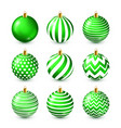 christmas tree shiny green balls set new year vector image vector image