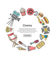 Cinema doodle icons in circle form