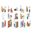 commercial consumers isometric people vector image vector image