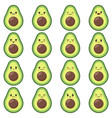 cute avocado set with different emotions vector image