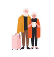 elderly couple with suitcase isolated on white vector image vector image