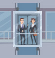 elevator talk businessmen dialogue in elevator vector image vector image