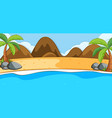 empty beach landscape scene with mountains vector image vector image