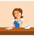 Female receptionist is taking a call vector image vector image