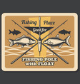 fishing sport retro poster fishes and rods vector image vector image