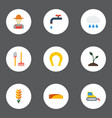 flat icons cloud faucet field and other vector image vector image