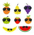 Fruit and berry set sunglasses eyeglasses Cartoon vector image