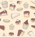 hand drawn pastry seamless pattern with cakes vector image