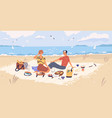happy couple drinking wine and eating at seaside vector image vector image