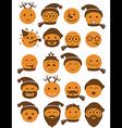 icons set 20 smiles winter orange vector image