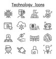 innovation future technology icon set in thin vector image vector image