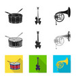 isolated object of music and tune logo collection vector image