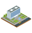 isometric modern business center with parking and vector image vector image