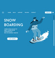 landing page snowboarding concept vector image vector image