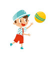 little boy plaing with ball cute cartoon vector image vector image