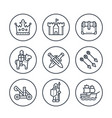 medieval war line icons in circles on white vector image vector image