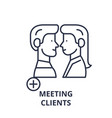 meeting clients line icon concept meeting clients vector image vector image