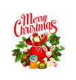 merry christmas santa gifts greeting icon vector image vector image
