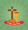 palm sunday christian celebration green background vector image