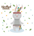 rabbit woodland animal with feather crown vector image
