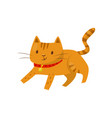red cat lying on the floor cute domestic pet vector image