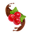 red currant in splash of brown chocolate vector image vector image