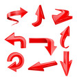 red set arrows 3d shiny icons vector image vector image