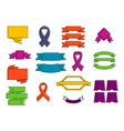 ribbon icon set color outline style vector image