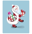 Santa Claus carrying sack full of gifts vector image vector image