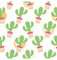 seamless pattern cactuses succulents with nice vector image vector image
