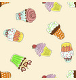 seamless pattern with colorful cupcakes vector image vector image