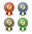 set golden and colorful top quality rosettes vector image vector image