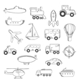 set isolated sketched transportation icons vector image vector image